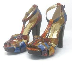 BCBGirls multi color heels size 8